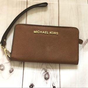 Michael Kors Jet Set Saffiano Leather Wristlet